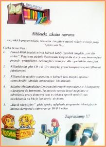 biblioteka szkolna zaprasza